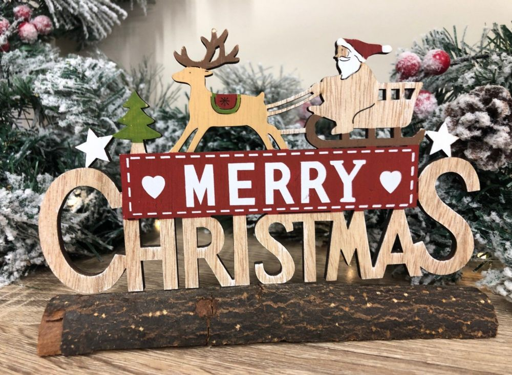 Merry Christmas Log Decoration with Santa & Sleigh